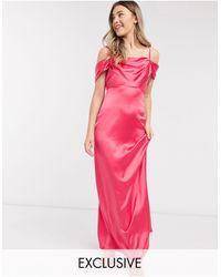 Flounce London Эксклюзивное Ярко-коралловое Атласное Платье-комбинация Макси С Драпировкой -мульти - Розовый