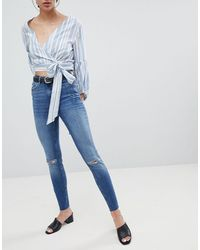 Pieces Five Delly Slashed Knee High Waisted Skinny Jeans - Blue