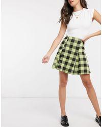 ASOS Boucle Box Pleat Mini Skirt - Green