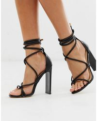 Truffle Collection Tie Leg Flat Heeled Sandals In Black