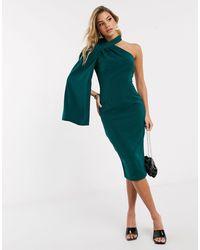 Lavish Alice One Shoulder Cape Midi Dress - Green