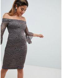 AX Paris - Bardot Lace Midi Dress - Lyst