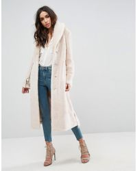 ASOS - Plush Faux Fur Maxi Coat With Belt - Lyst