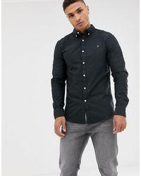 Farah Brewer - Camicia Oxford slim nera - Nero