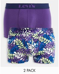 Levi's 2 Pack Indigo Leaf All Over Print Trunks - Purple