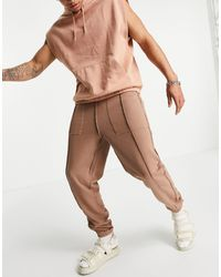 ASOS 4505 Reversible Oversized Joggers With Seam Detail - Brown