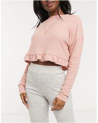 New Look – geripptes lounge-oberteil mit rüschensaum - Pink