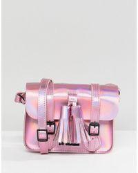 Dr. Martens Leather 7 Mini Iridescent Satchel - Pink