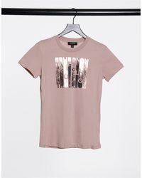 True Religion Foil Logo Slim Fit Crew Neck T Shirt - Pink