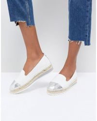 Dune - Slip White Leather Espadrilles With Silver Toe Cap - Lyst