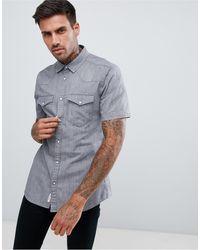 River Island Regular Fit Western Denim Shirt - Grey