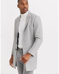 Jack & Jones Светло-серое Пальто С Добавлением Шерсти Premium-серый