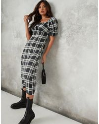 Missguided Midi Dress With Puff Sleeve And Ruched Detail - Multicolour