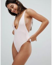 TWIIN Plunge Ribbed Swimsuit - Pink