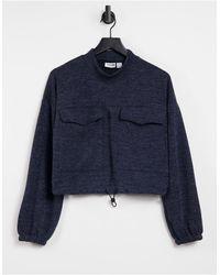 Noisy May Sweat-shirt à poches avec taille à cordon - Bleu
