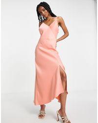River Island Атласное Асимметричное Платье-комбинация Миди Розового Цвета -красный