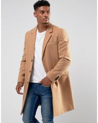 ASOS - Design Wool Mix Overcoat In Camel - Lyst