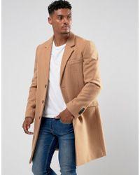 ASOS - Wool Mix Overcoat In Camel - Lyst