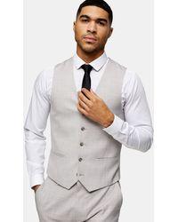 TOPMAN Slim Suit Vest - Grey