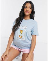 Daisy Street T-shirt décontracté à imprimé pizza - Bleu