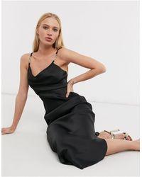 River Island Strappy Trim Midi Slip Dress - Black