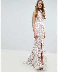 Jarlo - All Over Cutwork Lace Maxi Dress With Bow Detail Waist - Lyst