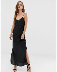 ASOS - Черное Атласное Платье-комбинация Макси - Lyst
