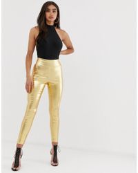 ASOS Pull On jegging In Washed Metallic Gold