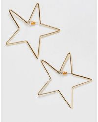 ASOS - Front And Back Earrings In Open Star Design In Gold Tone - Lyst
