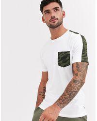 Jack & Jones Weißes T-Shirt mit Zierband mit Military-Muster