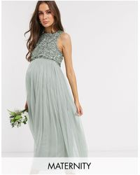 Maya Maternity Bridesmaid Sleeveless Midaxi Tulle Dress With Tonal Delicate Sequin Overlay - Multicolour