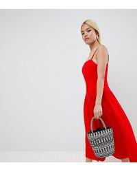 ASOS - Asos Design Petite Button Through Drop Waist Maxi Dress - Lyst