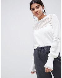 Suncoo - Knitted Balloon Sleeve Top - Lyst