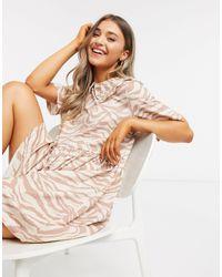 Monki Kamilla Organic Cotton Zebra Print Mini Dress With Collar - Natural