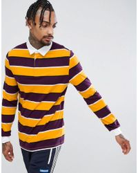 ASOS - Long Sleeve Stripe Rugby Polo - Lyst