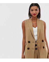 Mango Button Front Herringbone Waistcoat In Brown
