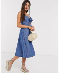 Abercrombie & Fitch Tie Front Cami Skater Midi Dress - Blue