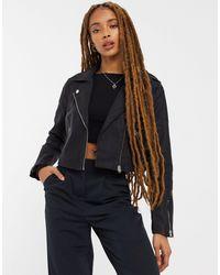 Miss Selfridge Faux Leather Cropped Biker Jacket - Black