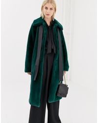 Y.A.S - Faux Fur Coat With Neck Tie - Lyst
