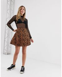 New Look Mini Skirt With Pleats - Brown