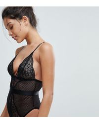 Wolf & Whistle - Black Lace Mix Body - Lyst