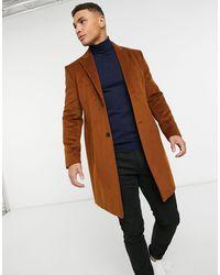 TOPMAN Коричневое Пальто Из Искусственной Шерсти -коричневый
