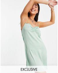 Reclaimed (vintage) Inspired - Robe courte boutonnée au dos à bretelles - menthe - Vert