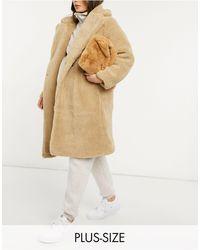 New Look Светло-бежевое Плюшевое Удлиненное Пальто -кремовый - Естественный