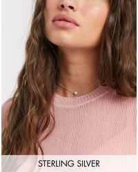 Kingsley Ryan Sterling Silver Choker Necklace With Pearl Pendant - Metallic
