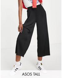 ASOS ASOS DESIGN Tall - Gonna pantalone plissé colore nero