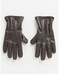 Jack & Jones Faux Leather Gloves - Brown
