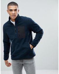 Abercrombie & Fitch Black Label Sports 1/4 Zip Trail Fleece In Navy - Blue