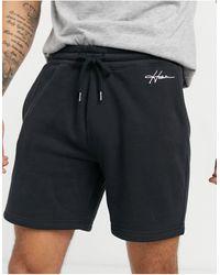 Hollister Script Logo Sweat Shorts - Black