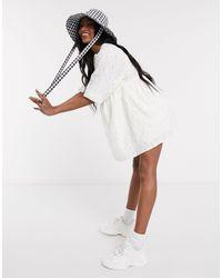 Pull&Bear Embroidered Smock Mini Dress - White